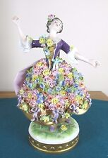 RARE VOLKSTEDT FLOWER ENCRUSTED DRESDEN DANCING LADY FIGURE