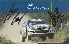 Manfred Stohl and Ilka Minor Hand Signed Promo Card Rally.