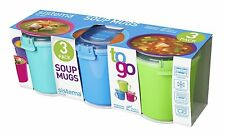 NEW!!! Sistema To Go Microwave Soup Mugs, 656mL, Assorted Colours - Pack of 3