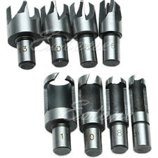 8 Pcs Carpentry Wood Plug Cutter Straight & Tapered Claw Type Drill Bit Sets