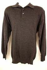 Piatelli Barneys New York Gray Wool Polo Sweater For Men Size XXL Made In Italy