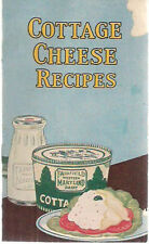 COTTAGE CHEESE RECIPES 20-pgs Fairfield Western Maryland Dairy (circa 1930's)