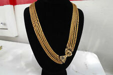 Vintage @@  Chunky Multi STUNNING Gold Tone Puff Snake Rope Mesh Runway Necklace