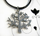 Silver Plated Tree Of Life Charm Pendant On A Black Leather -ette Necklace