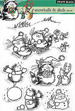Christmas Winter Play Clear Unmounted Rubber Stamp Set PENNY BLACK 30-265 New
