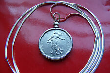 """Antique French Franc Pendant Bezel on a 30"""" Sterling Silver Snake Chain"""