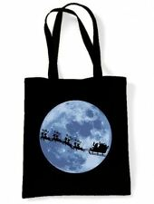 SANTA CLAUS WITH SLEIGH TOTE BAG - Father Christmas Gift Present Stocking
