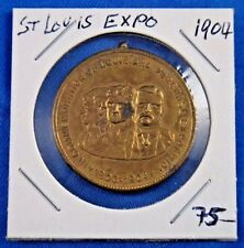 1904 St. Louis Expo Commemoration of Louisiana Purchase Medal Pin Token 1 1/4""
