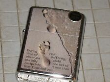 ZIPPO Lighter USA Footprints in the Sand Christian Jesus God Holy Spirit Church