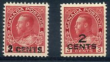Weeda Canada 139-140 VF mint H Admiral provisional surcharge singles. CV $80