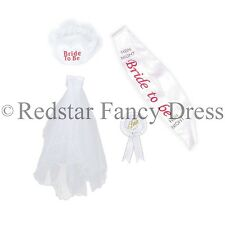 BRIDE TO BE 4PC SET INCLUDING VEIL SASH ROSETTE BADGE & GARTER HEN NIGHT PARTY