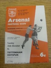 15/10/1963 Arsenal v Tottenham Hotspur  (Light Fold, Notes Made On Cover & Score