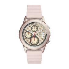 "Fossil ES4172 ""MODERN PURSUIT"" Chronograph Pink Silicone Strap Watch"
