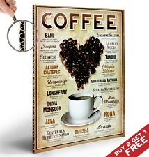 COFFEES OF THE WORLD POSTER A4 Photo Print Wall Art Shop Cafe Display Decoration