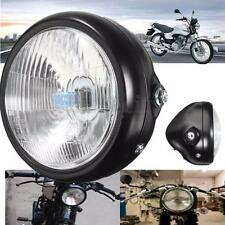 Black Metal Retro Motorcycle Front Headlight + Mount For GN125 Cafe Racer Bobber
