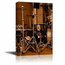 Canvas Prints Wall Art - Drum Kit/Drum Set with Gilded Color Retro Style - 12x18