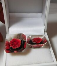1950' British Clear Lucite Red Rose Flower Reverse Carved painted  Earrings