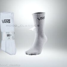 Vans Crew Cushioned Athletic Fit Tennis Sport Ribbed White Mid Calf Crew Socks