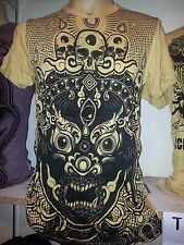 Yoga Men T Shirt short sleeve cotton Mask Demon Bali  tattoo India Om M Sure ra