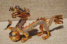 SWAROVSKI CRYSTAL BEJEWELED ENAMEL HINGED TRINKET BOX - LARGE GOLD DRAGON