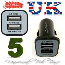 5 X Dual USB Car Charger Twin Port Mini Adapter iPhone 5 4 4S iPad Samsung Note