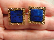 Striking Estate 1970's Vibrant Blue Lapis Lazuli 14K Gold Square Cufflinks