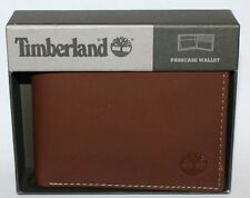 Timberland PASSCASE Men's Brown Genuine Leather Bi-Fold Flip ID holder Wallet **
