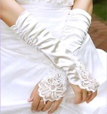 63g Ruched Bridal Ivory Satin Lace Insert Fingerless Wedding Prom Gloves