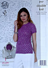 KNITTING PATTERN Ladies Short Sleeve Lace Front Jumper Galaxy DK King Cole 4757