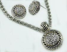 Bali Designer Rope Dot Pave Crystal Silver Gold Enhancer Pendant Necklace Set