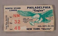 1963 Philadelphia Eagles Vs New York Giants Ticket Stub 9/29/63