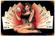 Lethal Threat Pin Up Girl Cards Poker Metal Sign Man Cave Garage Club LETH060