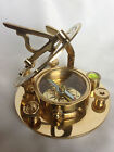 Brass Sundial Compass Nautical Marine Magnetic Compass with Leather Pouch 3 inch