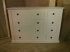 OLD MILL PINE FURNITURE EDWARDIAN RANGE 4+4 DRAWER CHEST CREAM/METAL HANDLES
