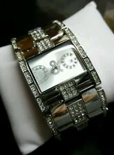 DOLCE AND GABBANA SWAROVSKI ENCRUSTED DRESS WATCH-STAINLESS STEEL