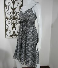 DIANE VON FURSTENBERG NWT SILK SPAGHETTI STRAP  DRESS SIZE 6, BLACK AND WHITE