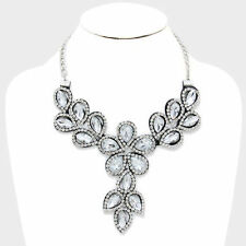 clear felt back floral crystal rhinestone bib bridal statement necklace V e 2