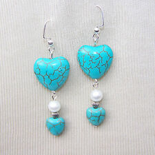 "BLUE TURQUOISE HEART STONE EARRINGS pierced  2 1/4"" handmade"