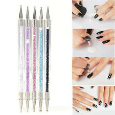 5PCS Acrylic Crystal 2Way Dotting Manicure Tools Painting Dot Pen Nail Art NEW
