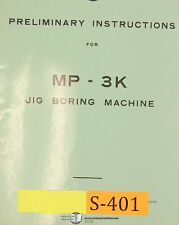 SIP MP-3K, Jig Boring Machine, Preliminary Instructions Manual