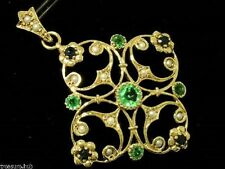 Genuine 9ct Solid Gold Natural Emerald, Sapphire & Pearl Pendant Victorian Style