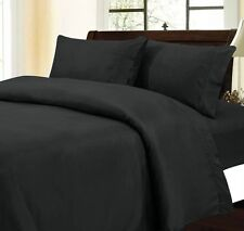 Black Color Queen New 500TC 100% Cotton Bed Sheet Set 4pc Sheets and Pillowcases