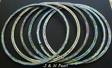 Guitar Rosette Paua Abalone+Gold Mother of Pearl 3 Rings Genuine Solid ID:122mm