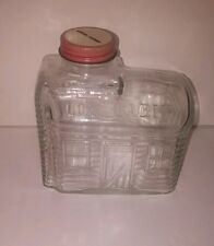 VINTAGE LOG CABIN SYRUP COIN BANK CLEAR GLASS - MUST SEE - FREE SHIPPING