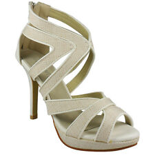 NEW WOMENS LADIES CUTOUT HIGH HEEL PARTY BRIDAL PLATFORM SANDALS SHOES SIZES