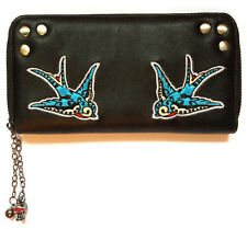 Banned Swallows 50s Rockabilly Pin up Faux Leather Wallet Purse Black Blue Gift