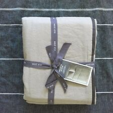 West Elm Linen Cotton King Duvet Cover only  khaki with slate trim