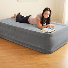 """Twin Size Air Bed Mattress 18"""" Built In Electric Pump Raised Guest Inflatable"""