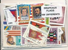ZBR - DRAPEAUX : 100 TIMBRES DIFF. OBLI. Ts PAYS