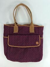 "Large Sewing Tote, Professional Made, 13W x 13.5 x 5D, 11"" Handle  Burgundy/Tan"